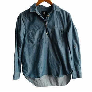 Women's Tentree Blue Teal Popover Collared Shirt